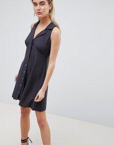 Read more about Asos design sleeveless button through mini skater dress - grey