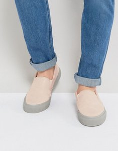 Read more about Asos slip on plimsolls in pink with grey sole - pink