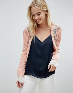 Read more about Asos design trophy cardigan with embellishment and lace back - pink
