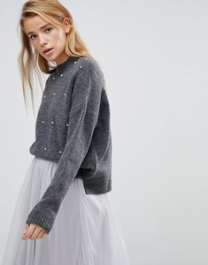 Read more about Pimkie puff sleeve jumper with pearl detail - black