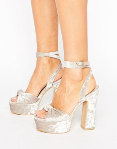 Read more about Public desire elaura cream velvet platform heeled sandals - cream velvet