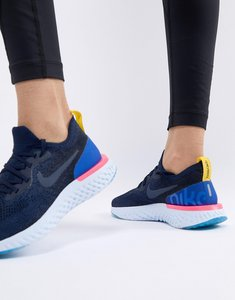 Read more about Nike running epic react flyknit trainers in navy - navy