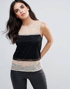 Read more about Ax paris lace panel blouse - nude black