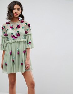 Read more about Asos embellished mesh fluted sleeve smock mini dress - sage