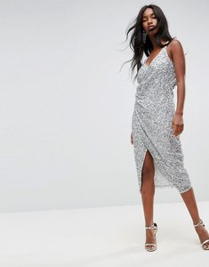 Read more about Asos all over embellished scattered drape midi dress - silver