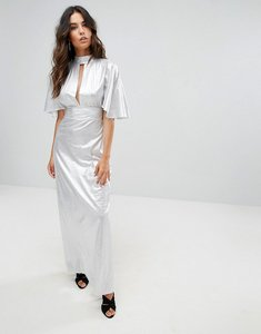 Read more about Liquorish metallic maxi dress with cut out front - silver
