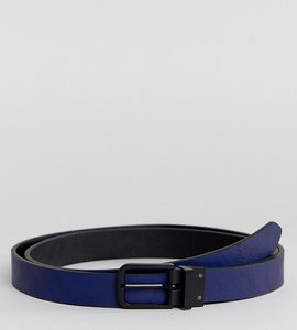 Read more about Asos design plus smart skinny reversible belt in black and navy faux leather - black navy