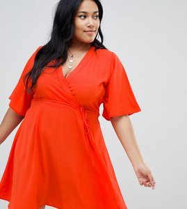 Read more about Glamorous curve tie front wrap dress - orange