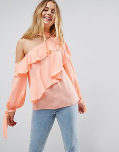 Read more about Asos ruffle blouse with exposed shoulder neck band - coral