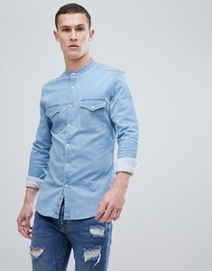 e9a0d50a2d0 Read more about Asos design skinny western shirt in light wash - bleach wash