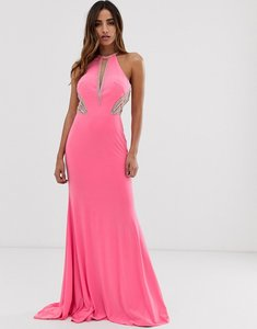 Read more about Jovani high neck maxi dress with side embellishment