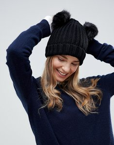 Read more about Brave soul half cardigan knit hat with 2 faux fur poms in white - white