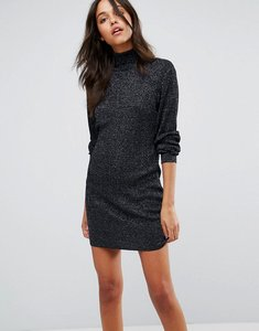 Read more about Jdy metallic roll neck dress - black