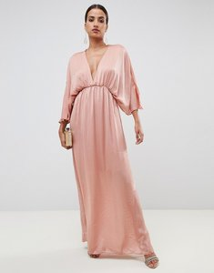 Read more about Asos design kimono maxi dress in satin - dusty rose