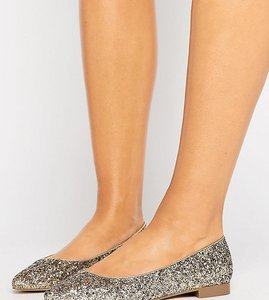 Read more about Asos lacey wide fit pointed ballet flats - glitter