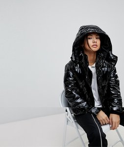 Read more about Noisy may vinyl padded jacket - black