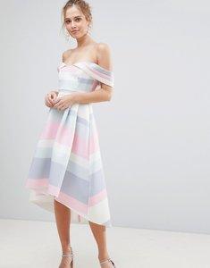 Read more about Asos bardot cold shoulder dip back pastel stripe prom dress - multi