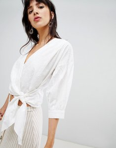 Read more about Warehouse blouse with wrap front in broderie - white
