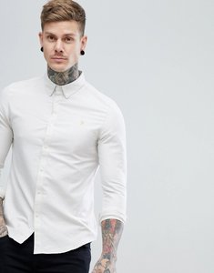 Read more about Farah brewer slim fit oxford shirt in off white - 268 limestone