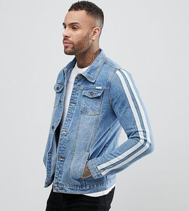 Read more about Liquor n poker denim jacket with arm stripes - stonewash blue