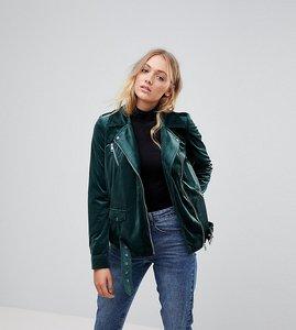 Read more about Vero moda tall velvet biker jacket - green