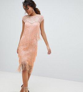 Read more about Asos design tall fringe sequin sheer midi dress - blush