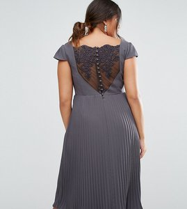 Read more about Asos curve wedding lace and pleat midi dress - grey