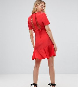 Read more about Asos tall lace up back tea dress - multi