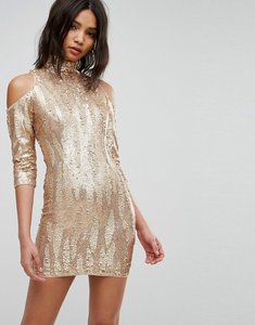 Read more about Tfnc high neck sequin mini dress with cold shoulder - gold