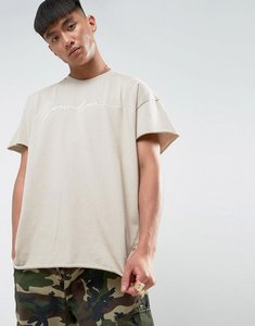 Read more about Mennace regular fit t-shirt with embroidery in stone - stone