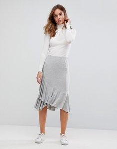 Read more about Vero moda ruffle side midi skirt - light grey melange