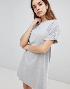 Read more about Asos ultimate rolled sleeve t-shirt dress with tab - grey marl