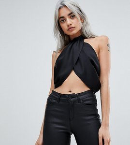 Read more about Asos petite sexy drape crop top with high neck - black
