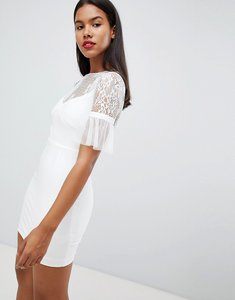 Read more about Rare london tulle sleeve mini dress - white