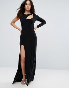 Read more about City goddess spliced maxi dress with thigh split - black
