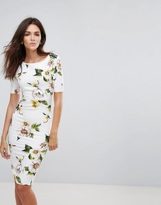 Read more about Ax paris floral 3 4 sleeve pencil dress - cream