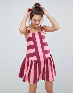 Read more about Asos design spliced stripe smock sundress - pink burgundy stripe