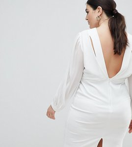 Read more about John zack plus open back bodycon dress with split sleeve detail - white