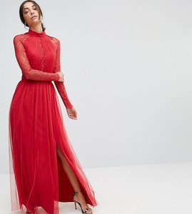 Read more about Little mistress tall pleat front maxi dress with lace sleeve detail - red