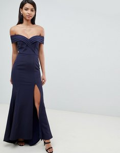 Read more about Jarlo pleated off shoulder bardot maxi dress in navy - navy