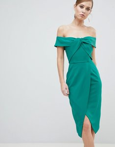 Read more about Lavish alice bardot knot front midi pencil dress - green