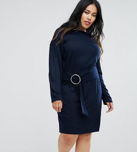 Read more about Asos curve knitted dress with batwing and ring detail - navy