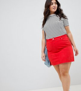 Read more about Asos design curve denim mini skirt in red - red