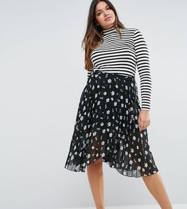 Read more about Asos curve pleated midi skirt with wrap front detail in floral print - multi