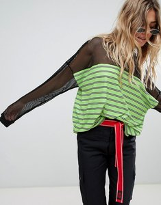 Read more about The ragged priest long sleeve t-shirt with sheer panel - lime