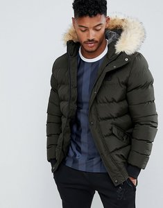 Read more about Siksilk puffer jacket with faux fur hood in khaki - khaki