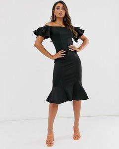Read more about Laced in love bardot frill midi fishtail scuba dress in black