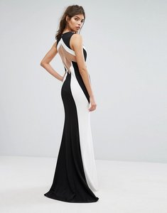 Read more about Forever unique mono contrast maxi dress - black ivory