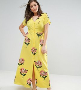 Read more about Asos curve maxi tea dress with open back in floral print - multi