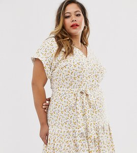Read more about Asos design curve midi button through belted tea dress in ditsy floral
